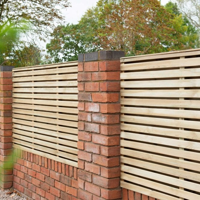 Contemporary Double Slatted Fence Panel 18m X 09m