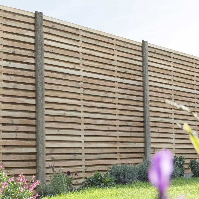 Click to view product details and reviews for Contemporary Double Slatted Fence Panel 18m X 18m.