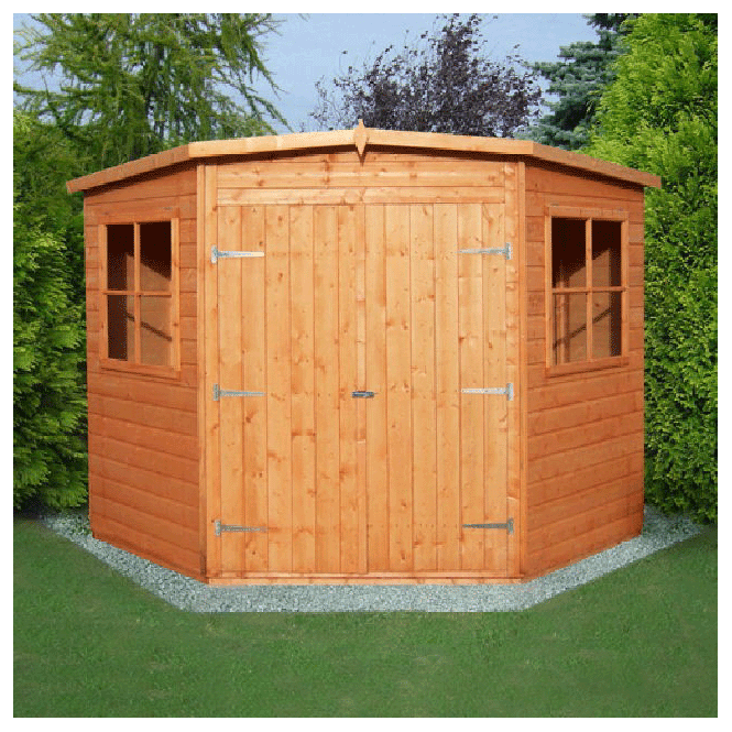 Click to view product details and reviews for Corner Shed Double Doors Low Roof.