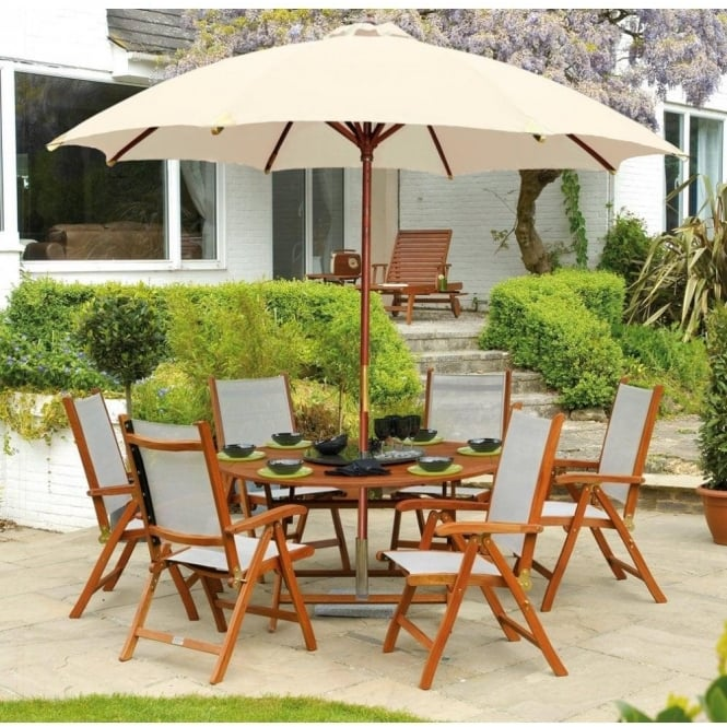 Alexander Rose Cornis Round Folding Table Outdoor Dining Furniture - 6 person round outdoor dining table