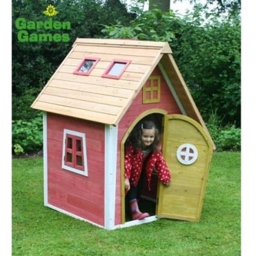 Crooked Cottage Playhouse Finished in Yellow and Pink