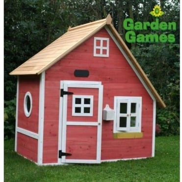 Crooked Mansion Playhouse Finished in Yellow and Pink