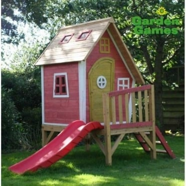 Crooked Tower Playhouse finished in Yellow and Pink