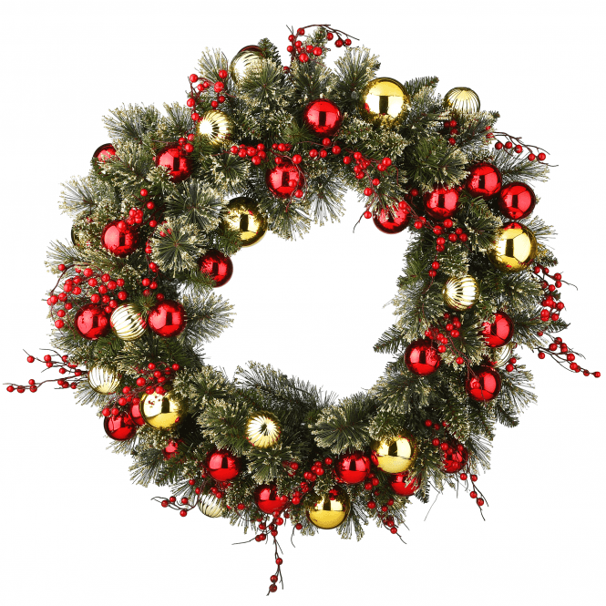 Click to view product details and reviews for Dakota Pine 24 Wreath Gold And Red Balls With Lights.