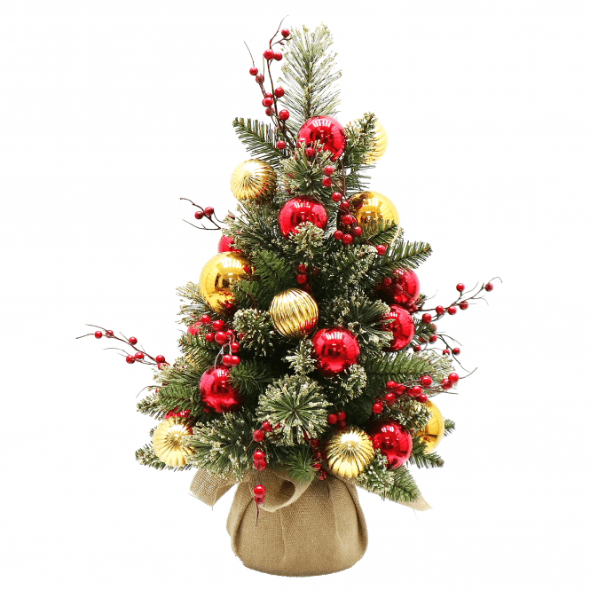 Click to view product details and reviews for Dakota Pine 2ft Tree In Burlap Bag With Gold And Red Balls.