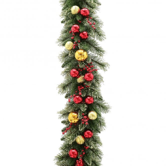 Click to view product details and reviews for Dakota Pine 9ft X10 Garland Gold And Red Balls.