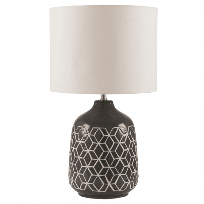 Click to view product details and reviews for Dark Grey Geo Ceramic Table Lamp.