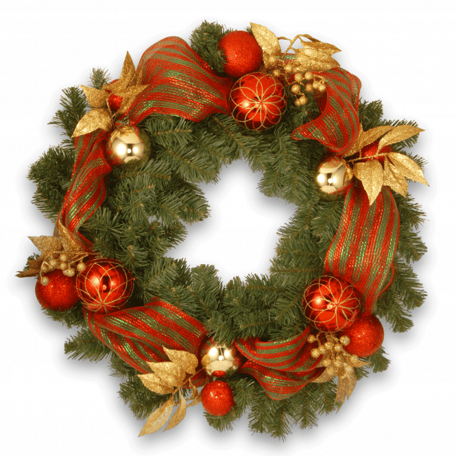 Click to view product details and reviews for Decorative Collection 30 Red And Green Ribbon Wreath.