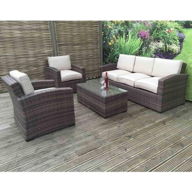 Della 3 Seater Rattan Sofa Set In Synthetic Rattan