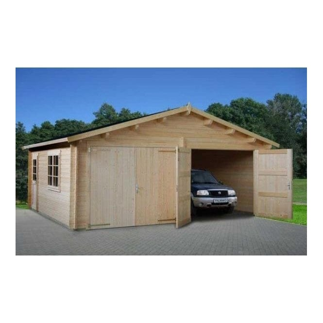 Double Garage Natural Wood Finish