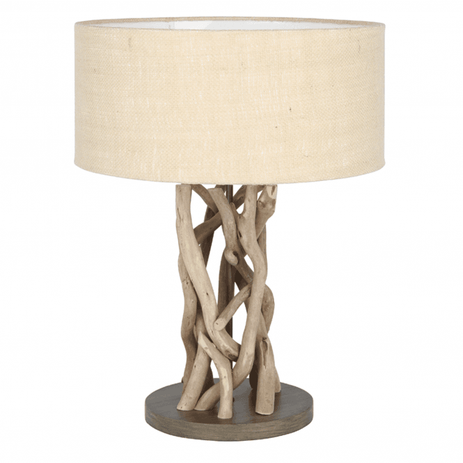 Driftwood And Natural Jute Table Lamp Complete