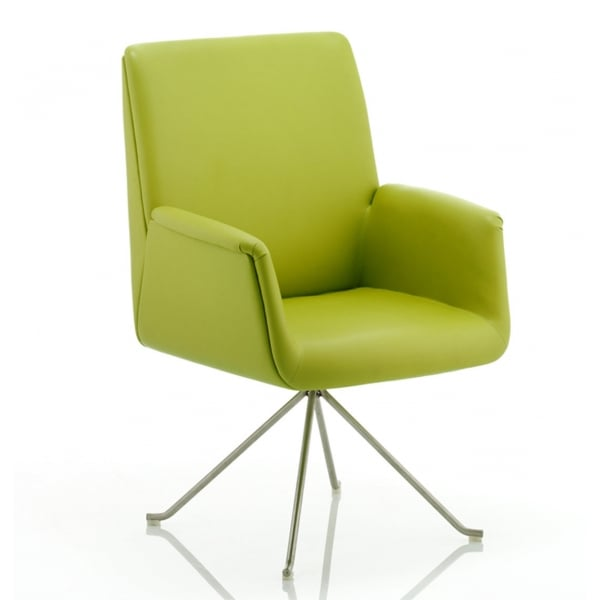 Dynamic Denton Visitor Chair Green Bonded Leather With Arms