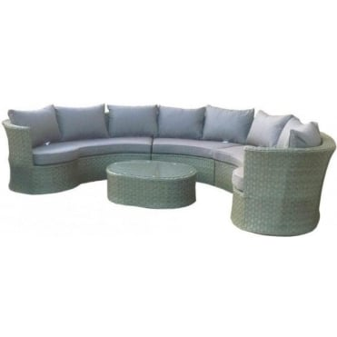 Eleanor Rattan Rounded Corner Sofa with Table
