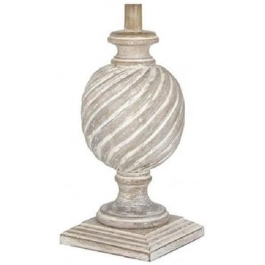 Ellie Cream Washed Wooden Wood Table Lamp Base 50cm