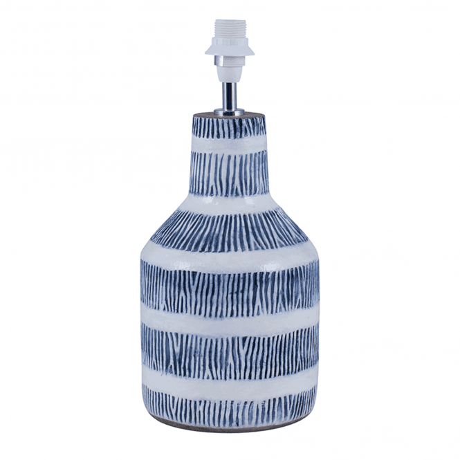 Etched Blue Detail Stoneware Table Lamp