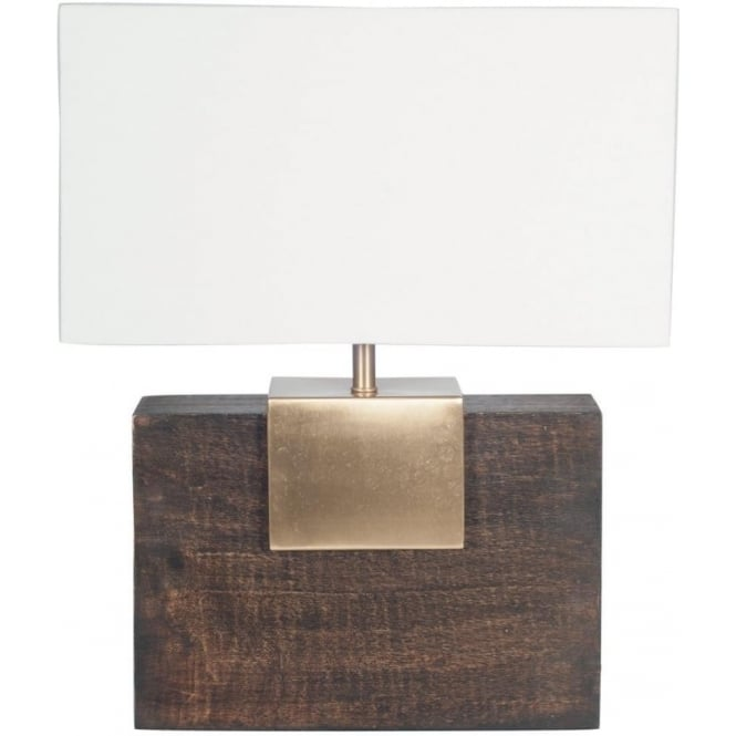 Etosha Dark Wood And Gold Rectangle Table Lamp Complete With Shade 49cm