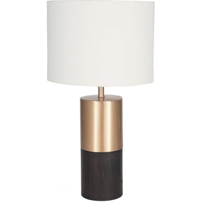 Click to view product details and reviews for Etosha Dark Wood And Gold Table Lamp Complete With Shade 53cm.