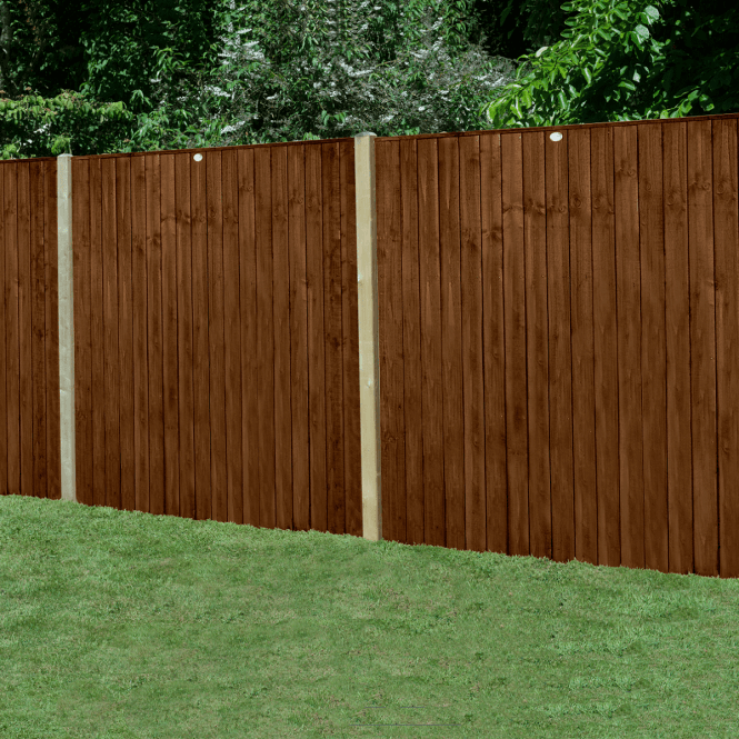 Featheredge Brown Fence Panel 6 X 6