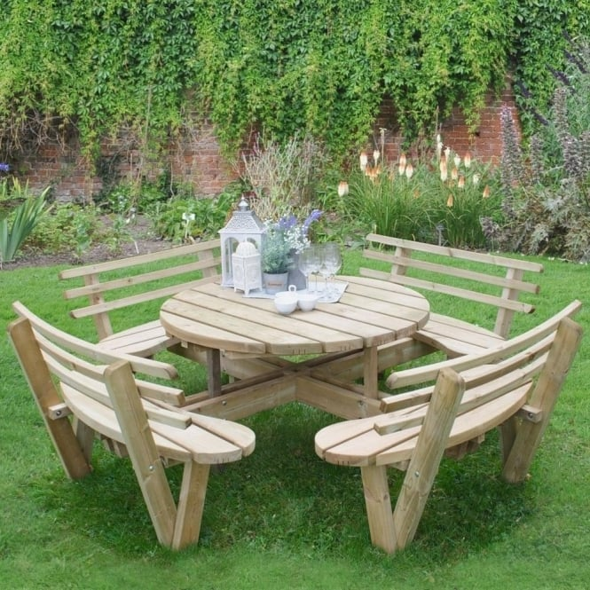 Click to view product details and reviews for Forest Garden Circular Picnic Table With Seat Backs.