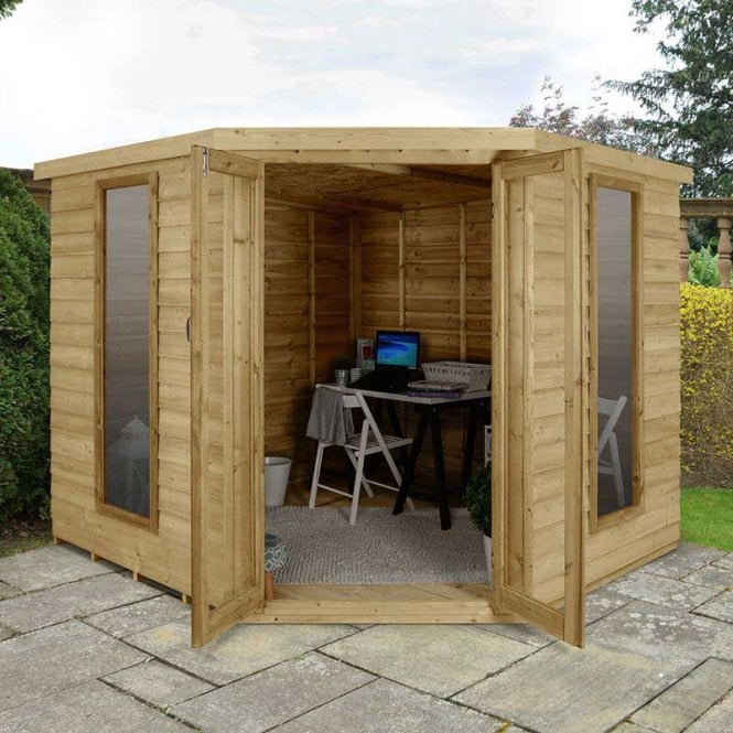 Forest Garden Oakley Overlap 8ft X 8ft Corner Summerhouse