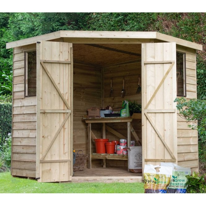 Click to view product details and reviews for Forest Garden Overlap Pressure Treated 7ft X 7ft Corner Shed.