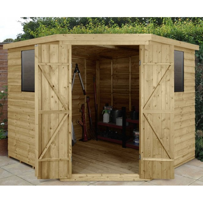 Click to view product details and reviews for Forest Garden Overlap Pressure Treated 8ft X 8ft Corner Shed.