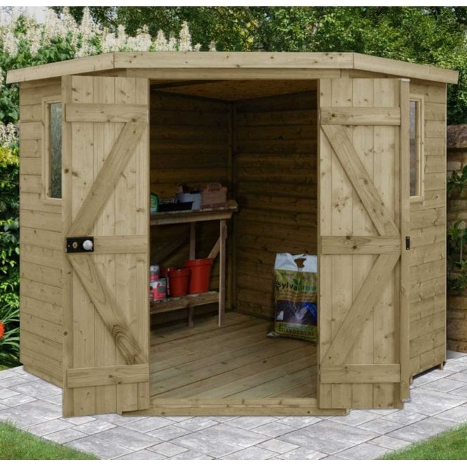 Click to view product details and reviews for Forest Garden Tongue And Groove Pressure Treated 7ft X7ft Corner Shed.
