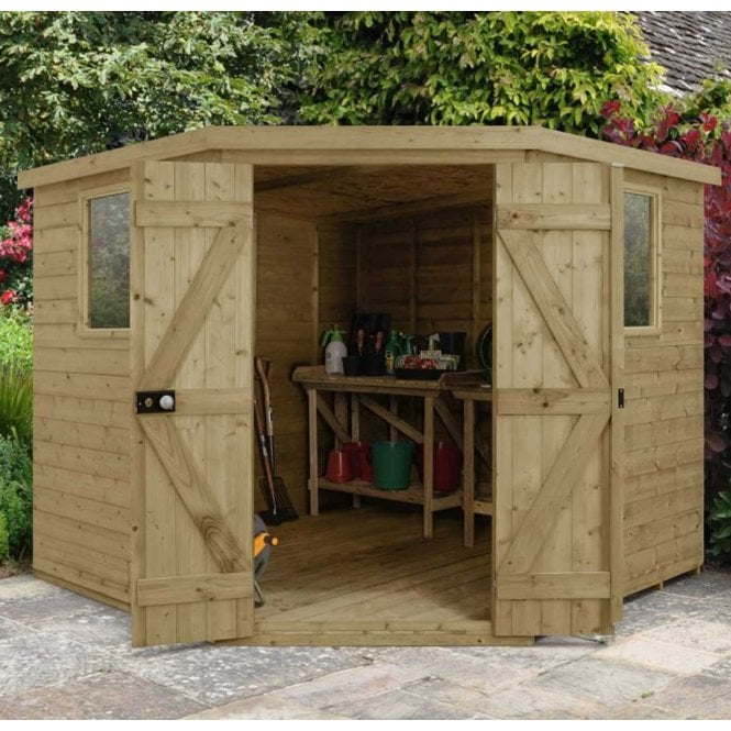 Click to view product details and reviews for Forest Garden Tongue And Groove Pressure Treated 8ft X8ft Corner Shed.