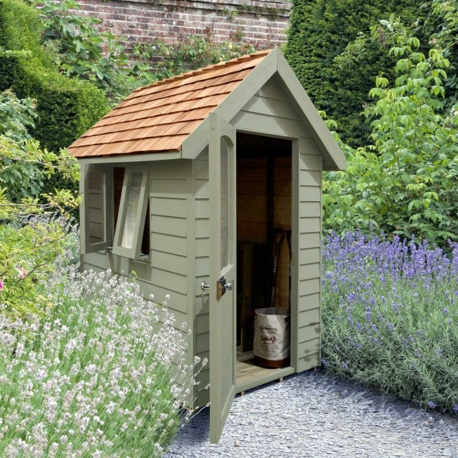 Forest Retreat Shed 6x4 Moss Green Installed