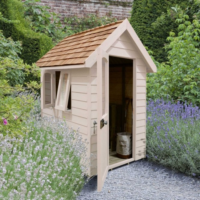 Click to view product details and reviews for Forest Retreat Shed 6x4 Natural Cream Installed.