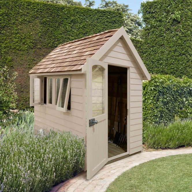 Click to view product details and reviews for Forest Retreat Shed 8x5 Natural Cream Installed.
