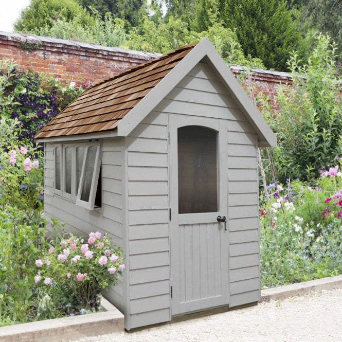 Forest Retreat Shed 8x5 Pebble Grey Installed