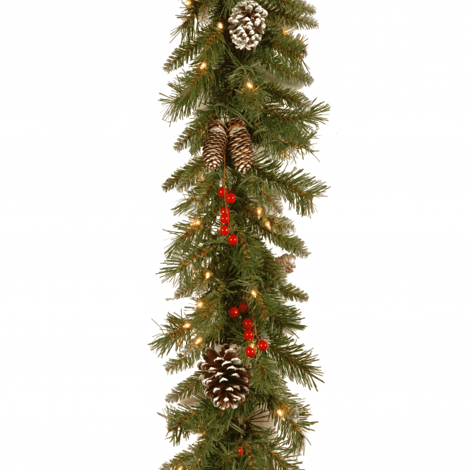 Frosted Berry 9ft X 10 Garland With Lights