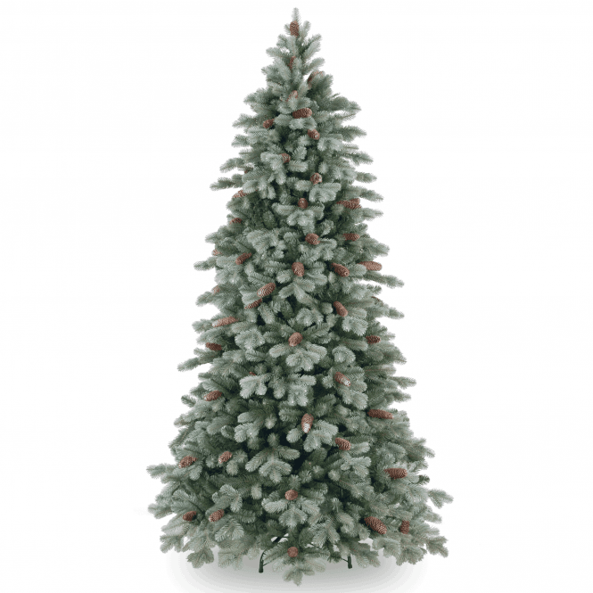 Click to view product details and reviews for Frosted Colorado Spruce 65ft Slim Tree With Cones.