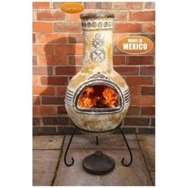Azteca Clay Chiminea Finished in Yellow