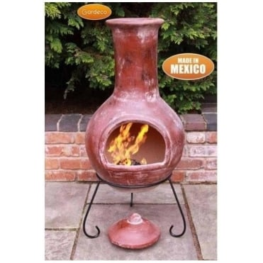 Colima Clay Chiminea Finished in Red
