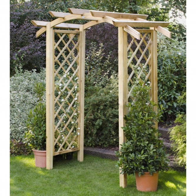 Genoa Garden Arch With Trellis Side Panels