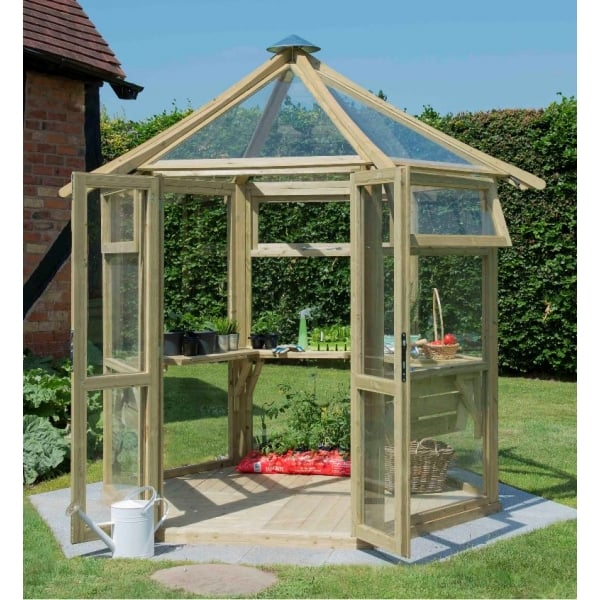 Forest Garden Glass House 6 Sided Solid Timber Base 3 ...