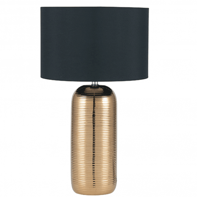 Gold Stripy Ceramic Table Lamp And Shade