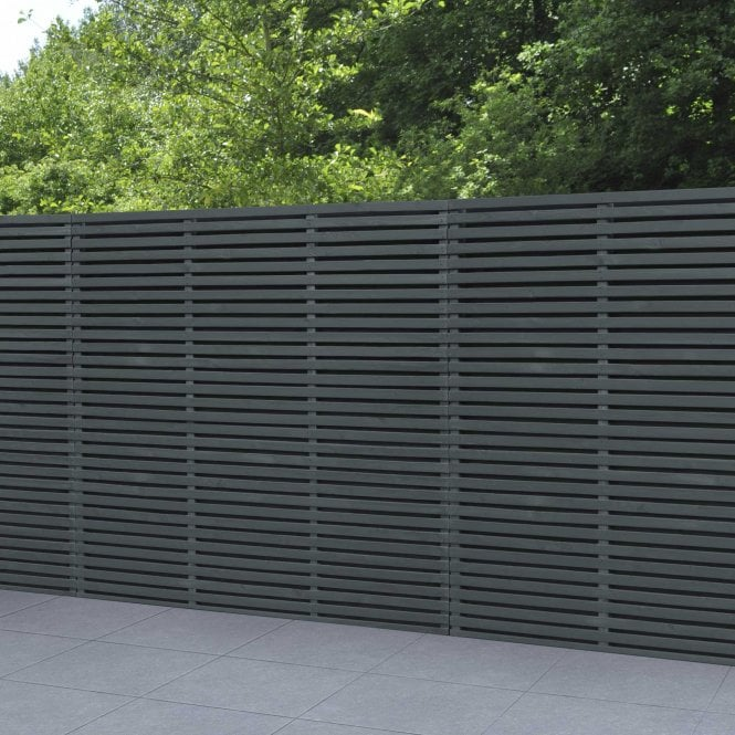 Click to view product details and reviews for Grey Contemporary Double Slatted Fence Panel 18m X 18m.