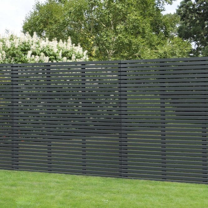 Grey Contemporary Slatted Fence Panel 18m X 181m