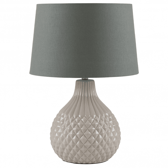 Grey Etched Ceramic Table Lamp