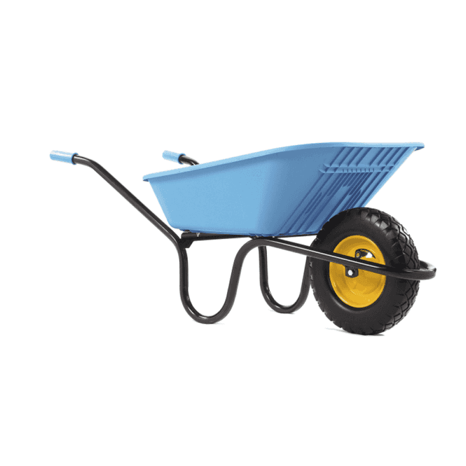 Click to view product details and reviews for Haemmerlin Vibrante Go 90ltr Puncture Free Wheelbarrow Blue.