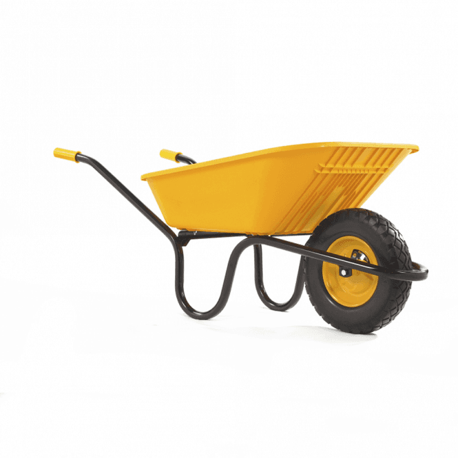 Click to view product details and reviews for Haemmerlin Vibrante Go 90ltr Puncture Free Wheelbarrow Yellow.