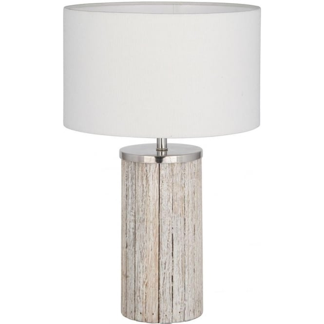 Haley Grey Washed Wood Column Complete Table Lamp 48cm