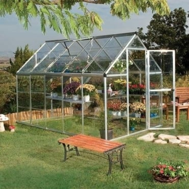 Harmony 6ft x 10ft Greenhouse Green / Silver Frame Option