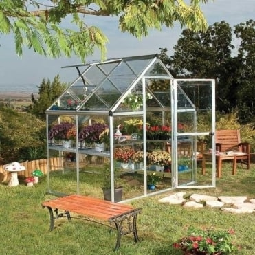 Harmony 6ft x 4ft Greenhouse Silver / Green Frame Option