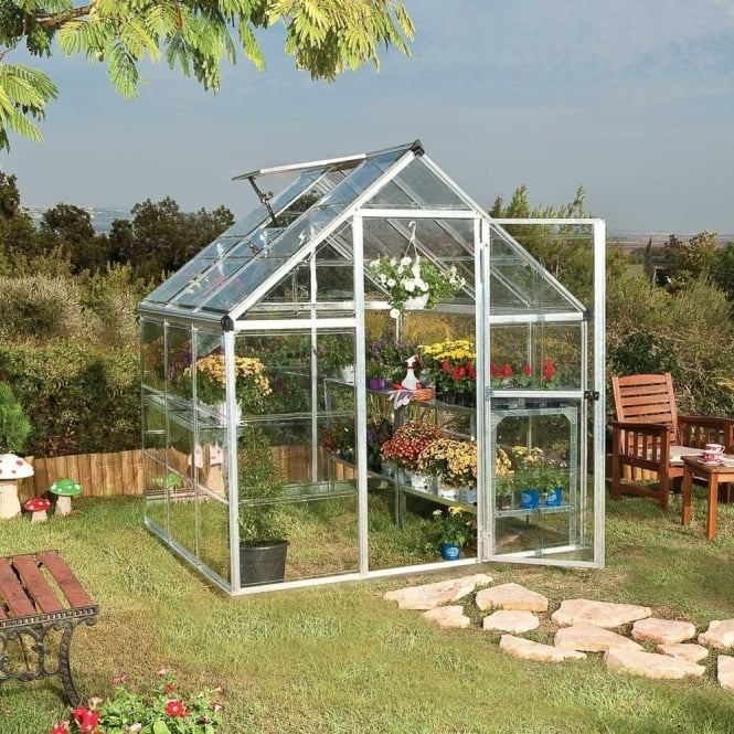 Harmony 6ft x 6ft Greenhouse Green / Silver Frame Option