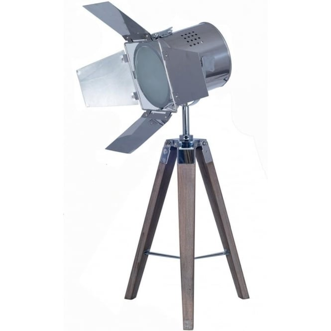Click to view product details and reviews for Hollywood Tripod White Washed Table Lamp With Chrome Film Shade 78cm Features.