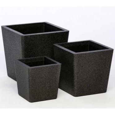 Iqbana Conical Set of 3 Pots Black